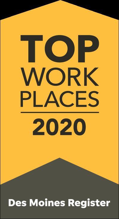 Des Moines Register Iowa Top Workplaces 2020 Award